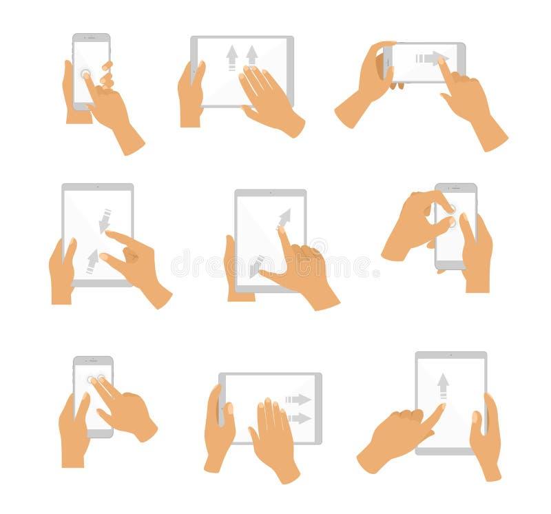 Διανυσματική απεικόνιση της συλλογής της χειρονομίας χεριών για την οθόνη αφής Οθόνη αφής δάχτυλων των συσκευών, επίπεδο σχέδιο ελεύθερη απεικόνιση δικαιώματος