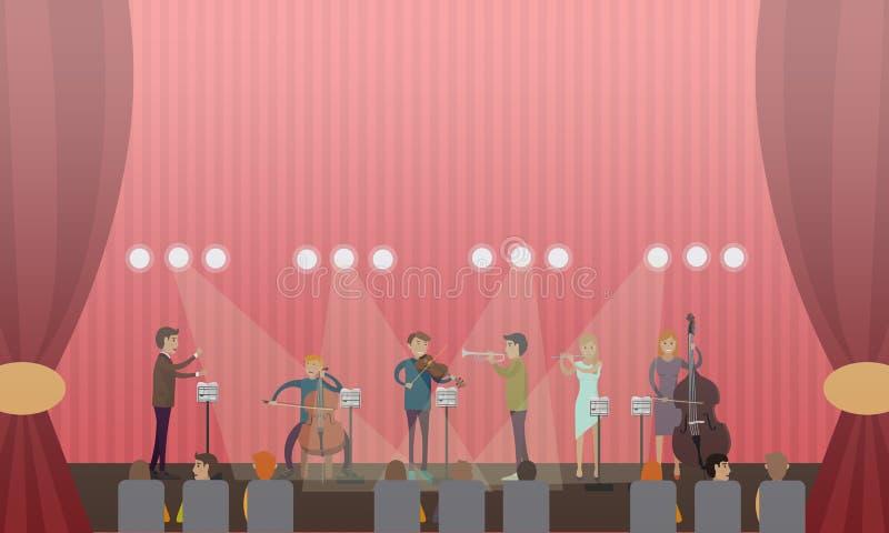 Διανυσματική απεικόνιση της συμφωνικής ορχήστρας και του ακροατηρίου ελεύθερη απεικόνιση δικαιώματος