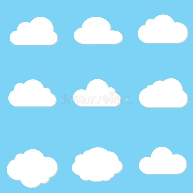 Διανυσματική απεικόνιση της συλλογής σύννεφων ελεύθερη απεικόνιση δικαιώματος