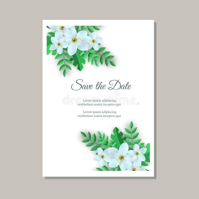 Διανυσματική απεικόνιση της τρυφερής κάρτας γαμήλιας πρόσκλησης με τις floral συνθέσεις διανυσματική απεικόνιση