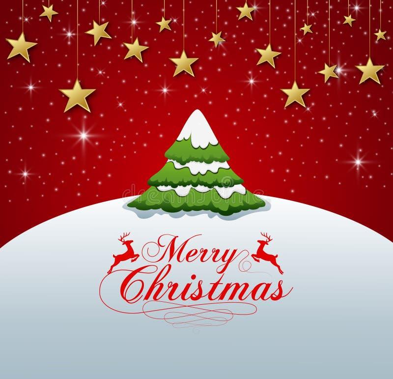 Διανυσματική απεικόνιση της τυπογραφίας Χαρούμενα Χριστούγεννας στο κόκκινο υπόβαθρο διανυσματική απεικόνιση