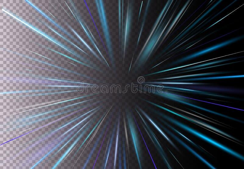 Διανυσματική απεικόνιση της υψηλής ταχύτητας, ελαφριά επίδραση κινήσεων, φως με τη φλόγα φακών Γρήγορη κίνηση Starburst σε διαφαν διανυσματική απεικόνιση