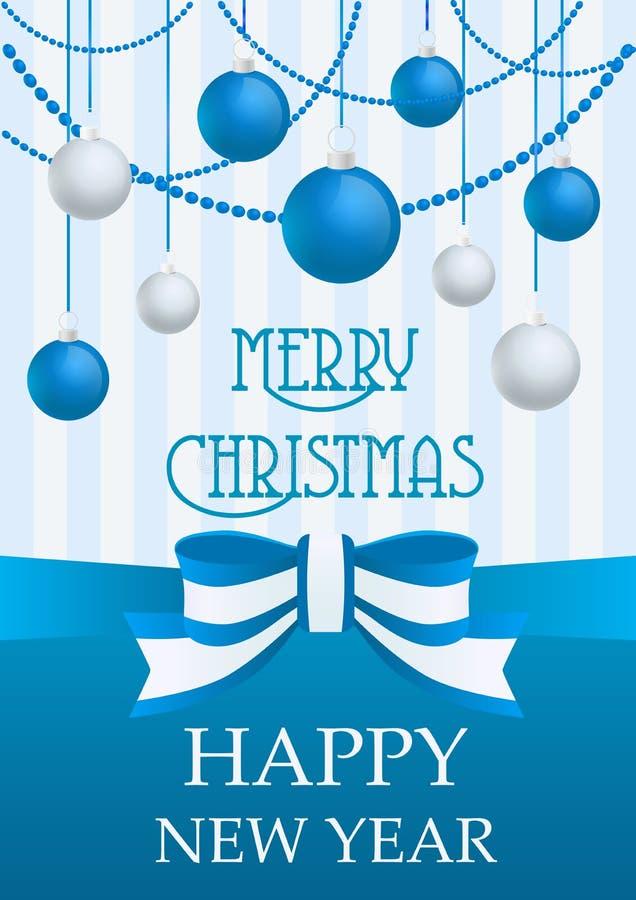 Διανυσματική απεικόνιση της Χαρούμενα Χριστούγεννας και της κάρτας καλής χρονιάς με τις ασημένιες και μπλε διακοσμήσεις παιχνιδιώ ελεύθερη απεικόνιση δικαιώματος