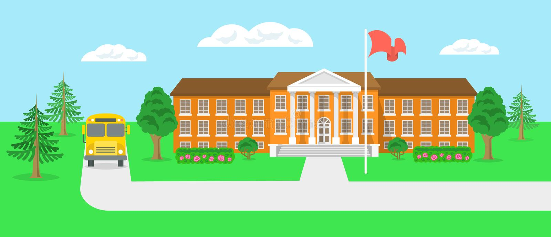 Διανυσματική απεικόνιση τοπίων σχολικού κτιρίου και ναυπηγείων επίπεδη απεικόνιση αποθεμάτων