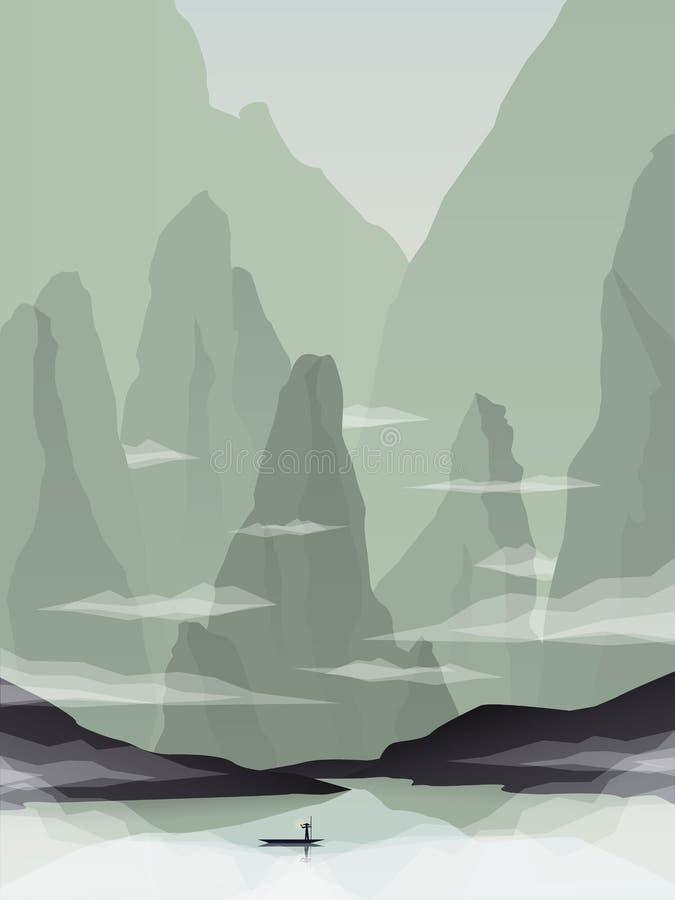Διανυσματική απεικόνιση τοπίων της Νοτιοανατολικής Ασίας με τους βράχους, τους απότομους βράχους και τη θάλασσα Προώθηση τουρισμο ελεύθερη απεικόνιση δικαιώματος