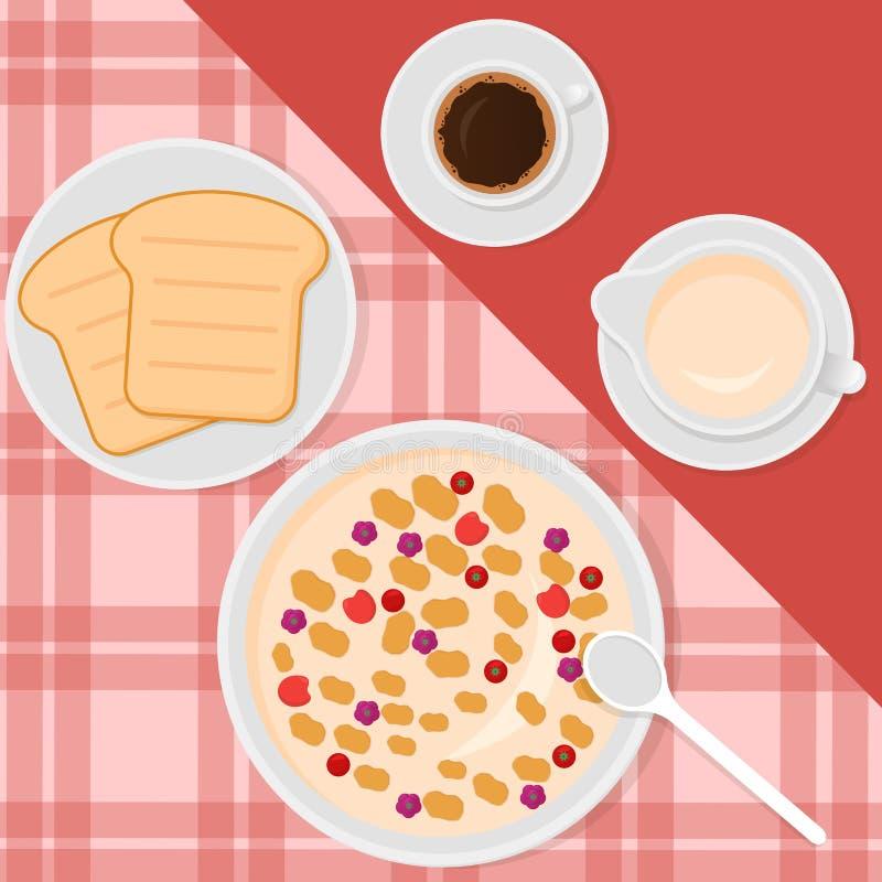 Διανυσματική απεικόνιση τοπ άποψης προγευμάτων στο επίπεδο ύφος με το muesli ή oatmeal, το γάλα, τον καφέ και τις φρυγανιές απεικόνιση αποθεμάτων