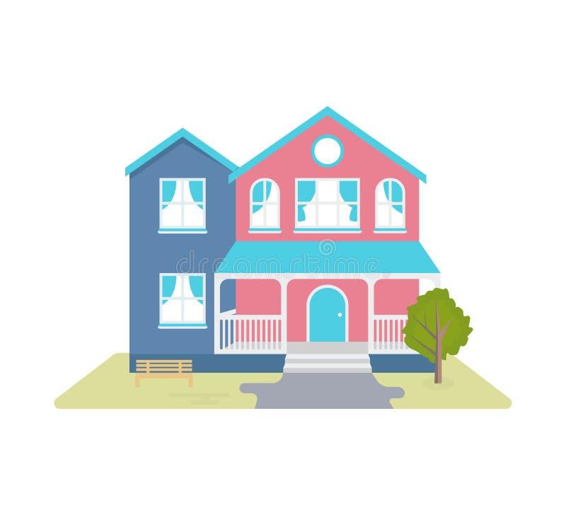 Διανυσματική απεικόνιση του άνετου εξοχικού σπιτιού ελεύθερη απεικόνιση δικαιώματος