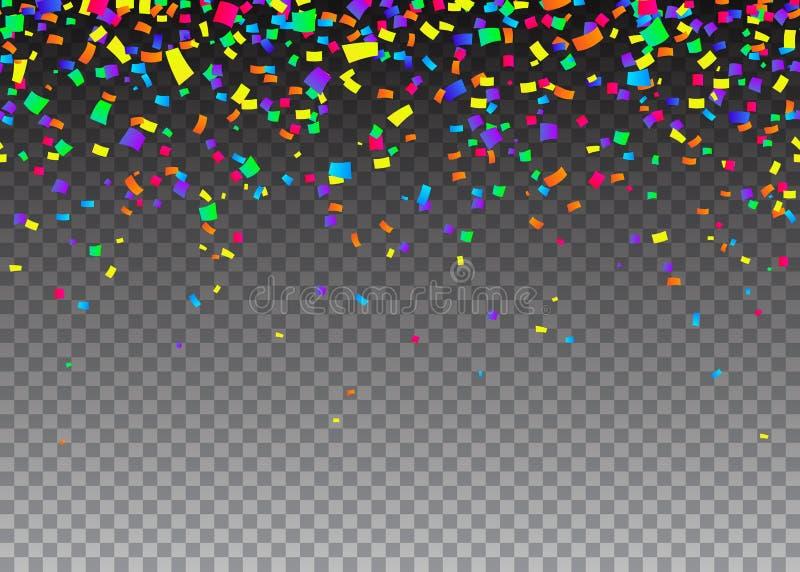 Διανυσματική απεικόνιση του άνευ ραφής υποβάθρου συνόρων κινούμενων σχεδίων με το κομφετί καρναβαλιού διανυσματική απεικόνιση
