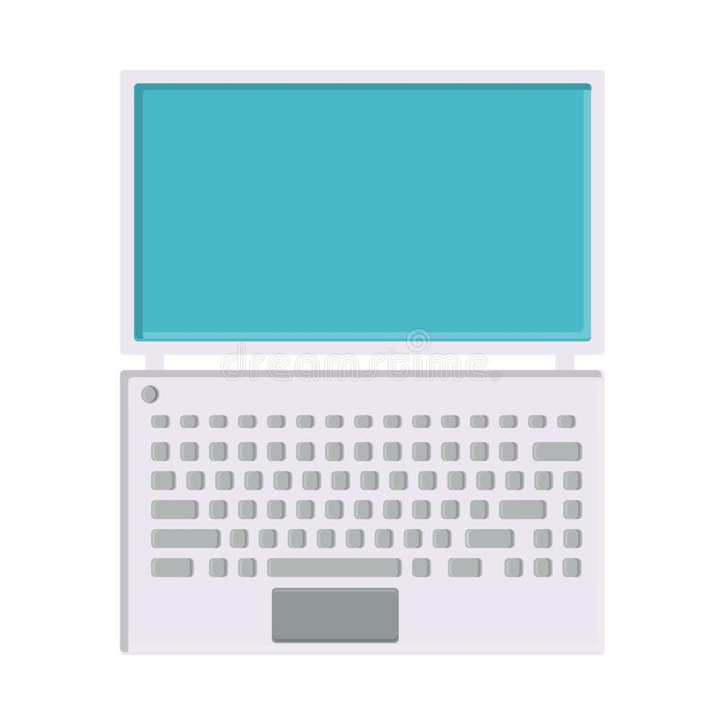 Διανυσματική απεικόνιση του άσπρου επίπεδου απλού σύγχρονου ψηφιακού ψηφιακού ultrathin ορθογώνιου lap-top εικονιδίων με το πληκτ ελεύθερη απεικόνιση δικαιώματος