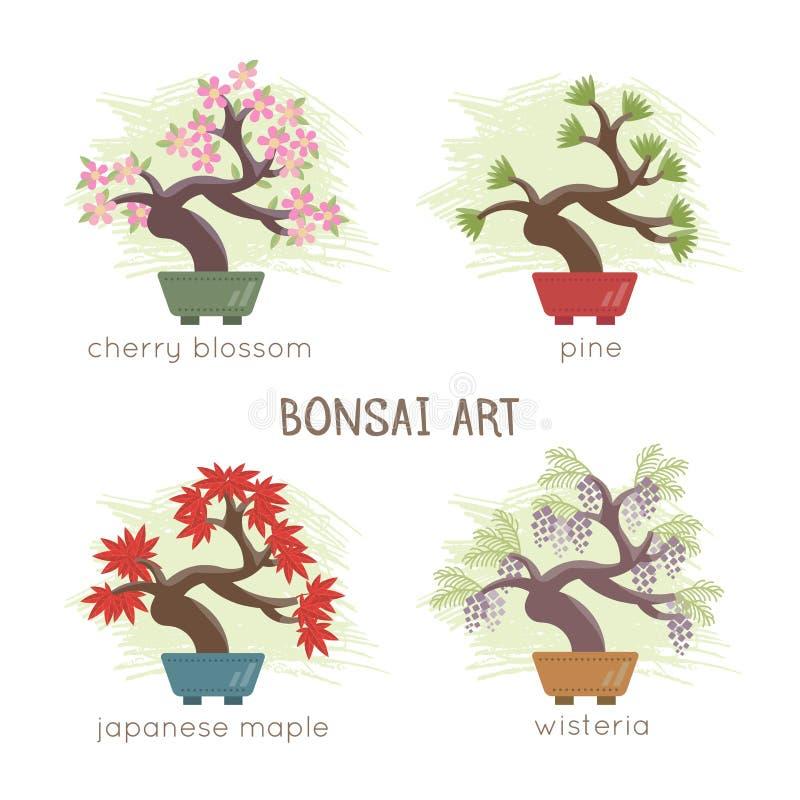 Διανυσματική απεικόνιση του δέντρου μπονσάι ελεύθερη απεικόνιση δικαιώματος