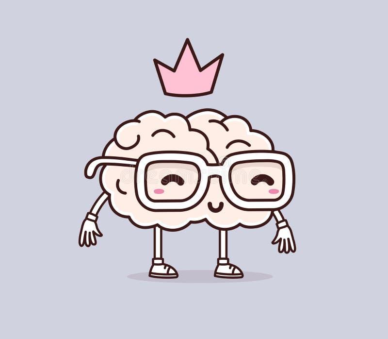 Διανυσματική απεικόνιση του αναδρομικού εγκεφάλου χαμόγελου χρώματος κρητιδογραφιών με το γυαλί στοκ φωτογραφίες