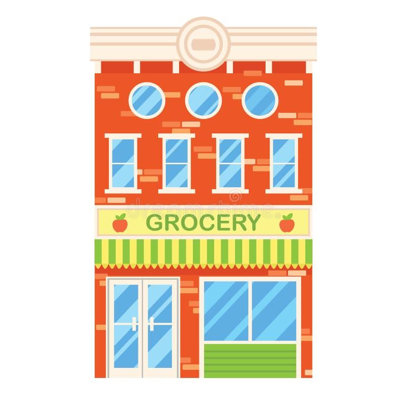 Διανυσματική απεικόνιση του αναδρομικού κτηρίου με το κατάστημα παντοπωλείων πρόσοψη απεικόνιση αποθεμάτων