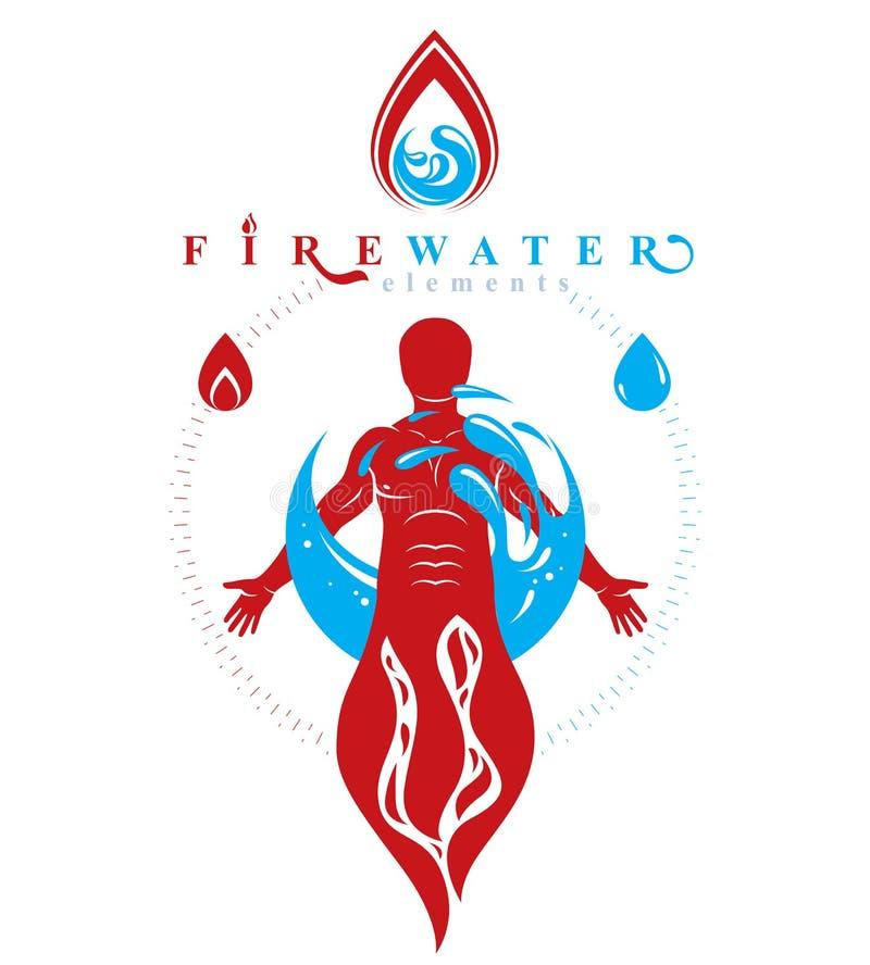 Διανυσματική απεικόνιση του ανθρώπου στεμένος, mythic αρχαίος Θεός PROMETHEUS που περιβάλλεται από μια σφαίρα νερού, ένα νερό και ελεύθερη απεικόνιση δικαιώματος