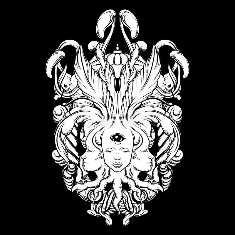 Διανυσματική απεικόνιση του αφηγητή τύχης με τρία κεφάλια, μάτια, floral μπαρόκ πλαίσιο ελεύθερη απεικόνιση δικαιώματος