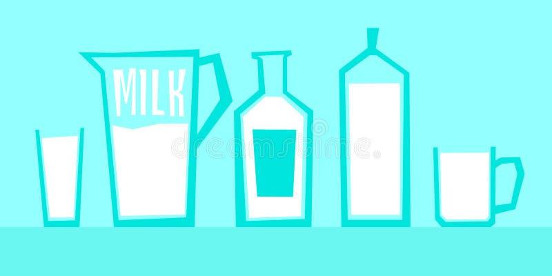 Διανυσματική απεικόνιση του γάλακτος στα διαφορετικά εμπορευματοκιβώτια γυαλιού διανυσματική απεικόνιση