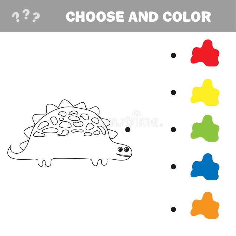 Διανυσματική απεικόνιση του δεινοσαύρου κινούμενων σχεδίων - χρωματίζοντας βιβλίο διανυσματική απεικόνιση