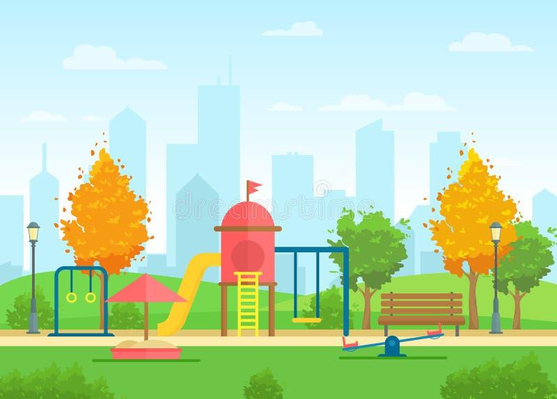 Διανυσματική απεικόνιση του δημόσιου πάρκου πόλεων με την παιδική χαρά για τα παιδιά και του αστικού τοπίου πόλεων στο υπόβαθρο σ διανυσματική απεικόνιση