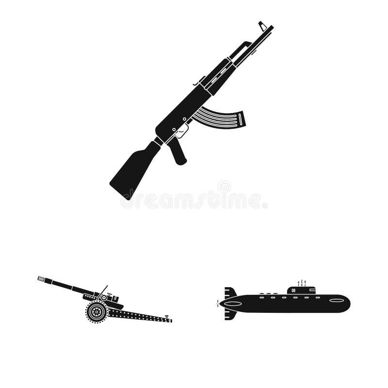 Διανυσματική απεικόνιση του εικονιδίου όπλων και πυροβόλων όπλων Σύνολο διανυσματικής απεικόνισης αποθεμάτων όπλων και στρατού διανυσματική απεικόνιση