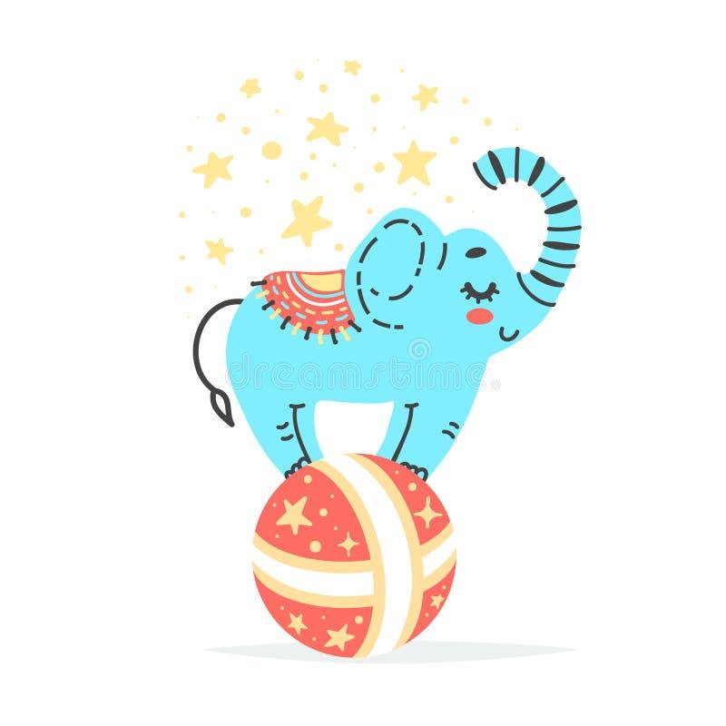 Διανυσματική απεικόνιση του ελέφαντα στη μεγάλη κόκκινη σφαίρα Καλλιτέχνης τσίρκων που κάνει το τέχνασμα απεικόνιση αποθεμάτων