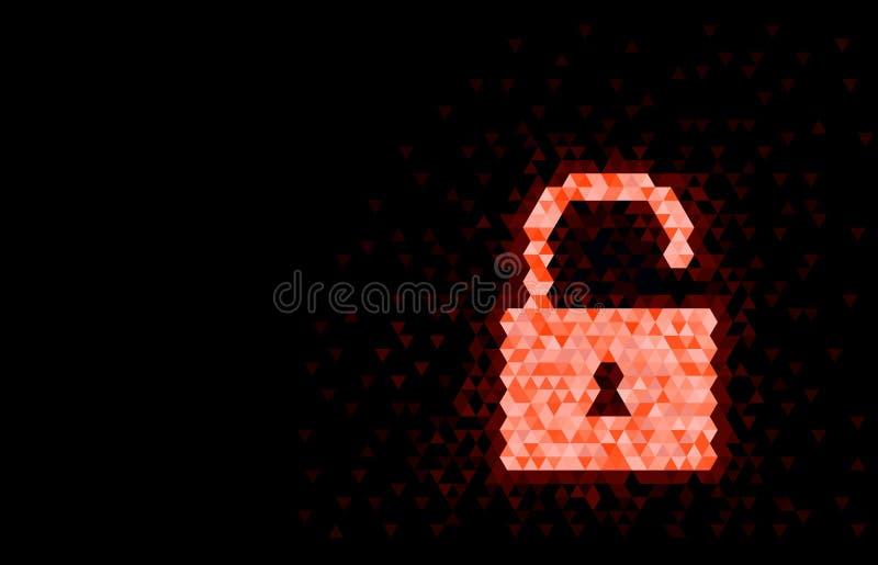 Διανυσματική απεικόνιση του επίπεδου ξεκλειδωμένου σχέδιο εικονιδίου κλειδαριών Κόκκινο χρώμα ελεύθερη απεικόνιση δικαιώματος