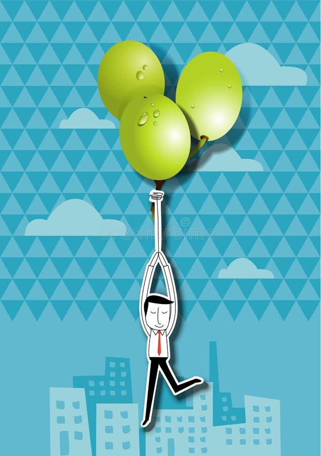 Διανυσματική απεικόνιση του επιχειρηματία που κρατά τα πράσινα μπαλόνια σταφυλιών ελεύθερη απεικόνιση δικαιώματος