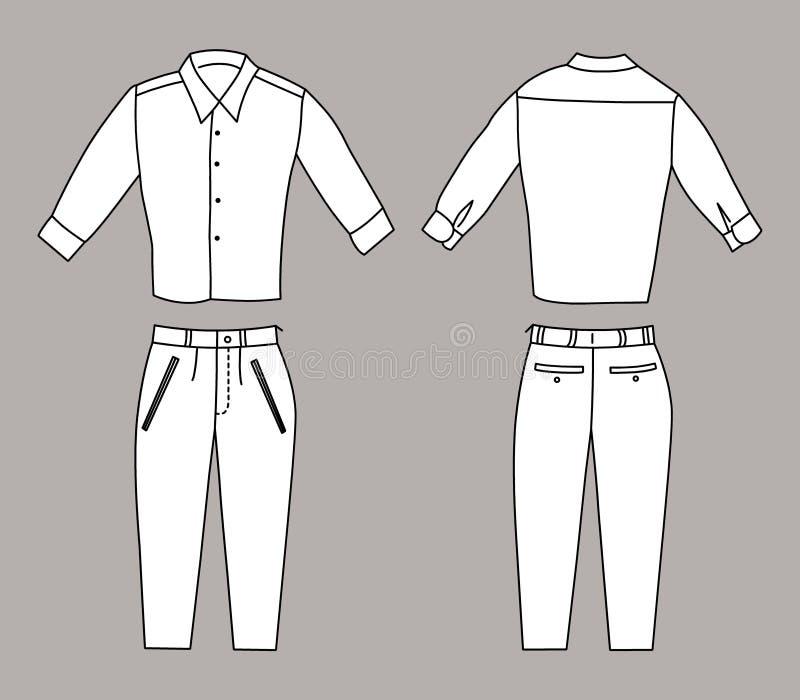 Διανυσματική απεικόνιση του επιχειρησιακών πουκάμισου και των εσωρούχων, των μπροστινών και πίσω απόψεων ελεύθερη απεικόνιση δικαιώματος