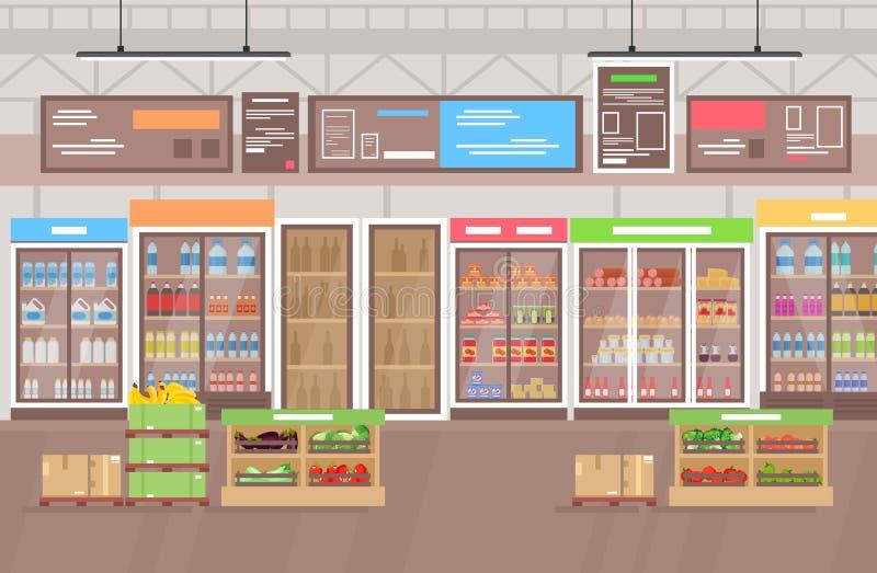 Διανυσματική απεικόνιση του εσωτερικού υπεραγορών Μεγάλη υπεραγορά καταστημάτων με το μέρος των αγαθών, φρούτα και λαχανικά E απεικόνιση αποθεμάτων