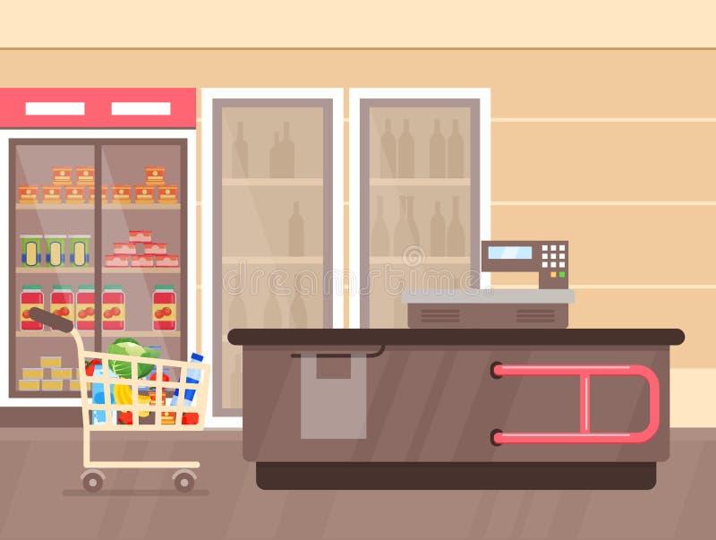 Διανυσματική απεικόνιση του εσωτερικού υπεραγορών με το μετρητή και τα ψυγεία με τα ποτά, shelfs και τις στάσεις με τα προϊόντα κ ελεύθερη απεικόνιση δικαιώματος