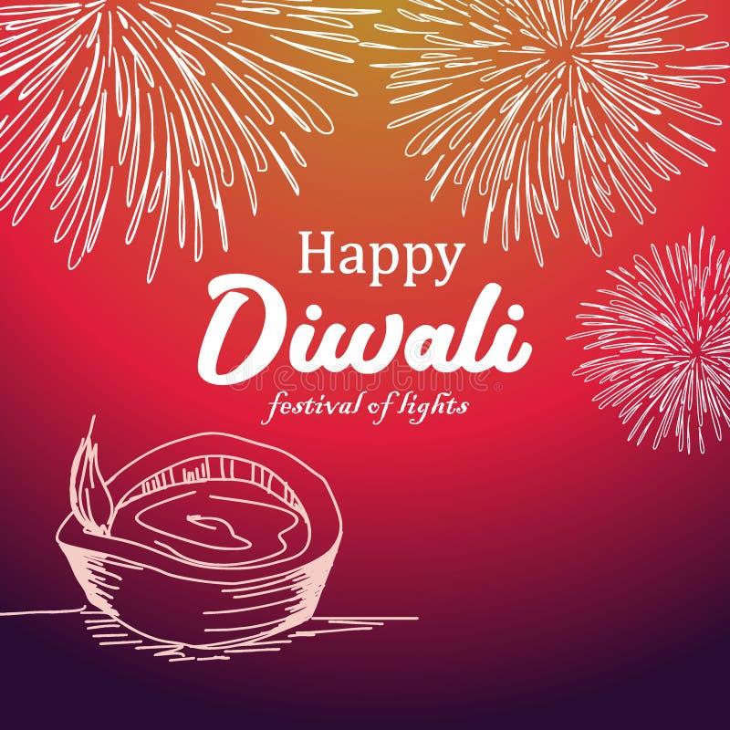 Διανυσματική απεικόνιση του ευτυχούς σχεδίου χαιρετισμού diwali με το ζωηρόχρωμο diya υποβάθρου και καψίματος ελεύθερη απεικόνιση δικαιώματος