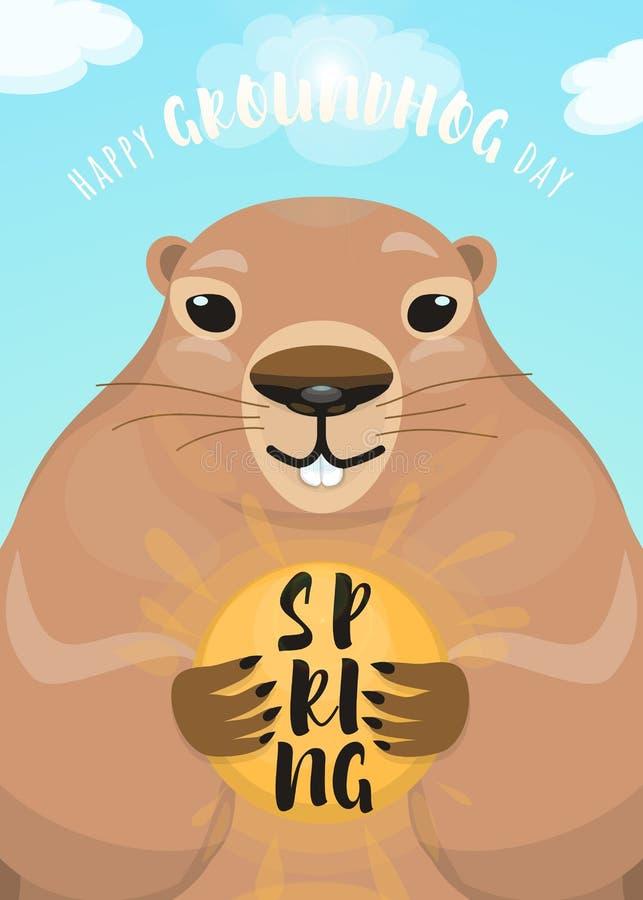 Διανυσματική απεικόνιση του ευτυχούς σχεδίου ημέρας groundhog με το χαριτωμένο τρωκτικό ελεύθερη απεικόνιση δικαιώματος