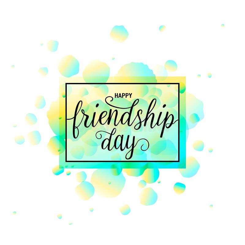 Διανυσματική απεικόνιση του ευτυχούς σχεδίου τυπογραφίας ημέρας φιλίας στο άσπρο υπόβαθρο με τα τραχιά σημεία χρώματος ελεύθερη απεικόνιση δικαιώματος