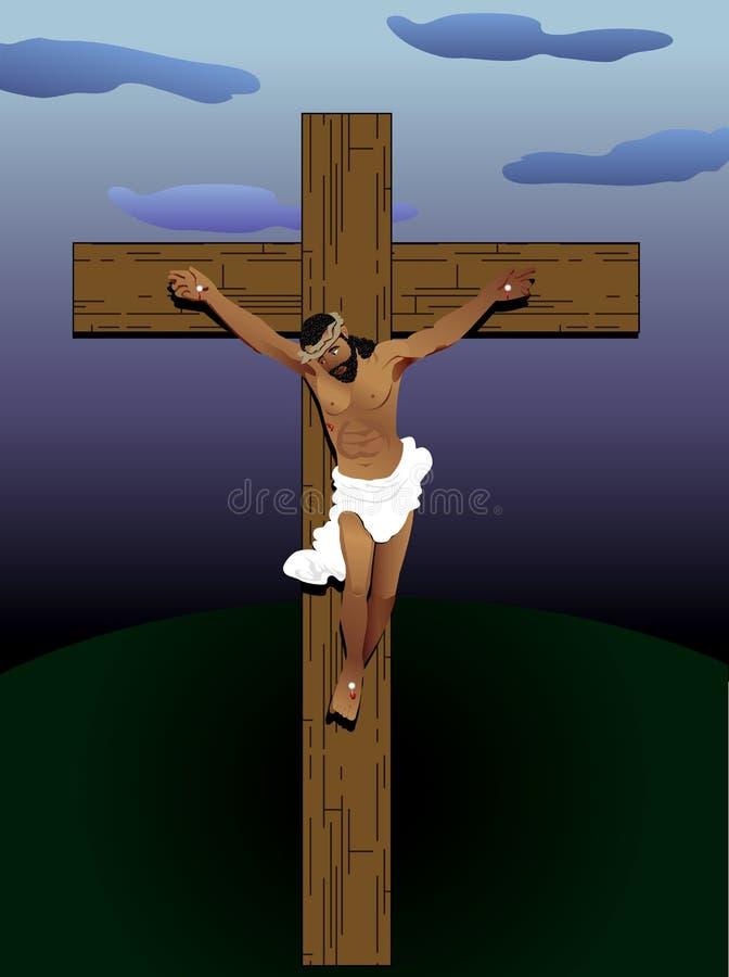 Ιησούς στο σταυρό διανυσματική απεικόνιση