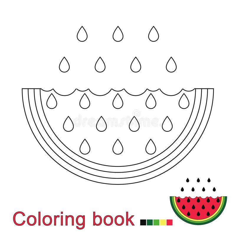 Διανυσματική απεικόνιση του καρπουζιού για το χρωματισμό του βιβλίου απεικόνιση αποθεμάτων