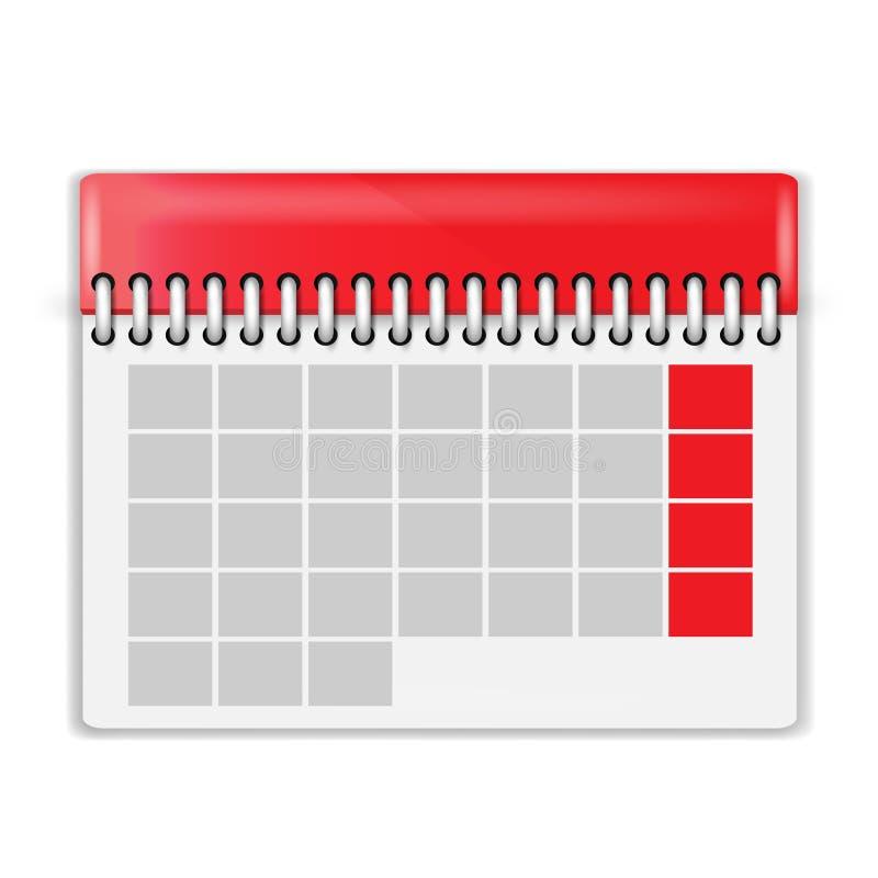Διανυσματική απεικόνιση του κενού ημερολογίου στοκ εικόνες