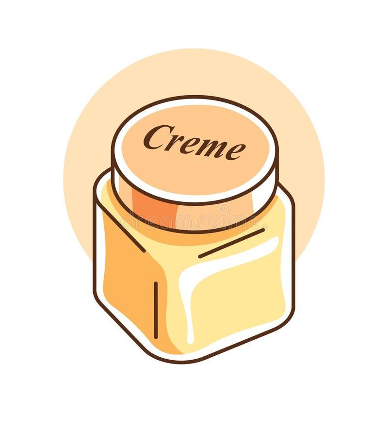 Διανυσματική απεικόνιση του κομψού του προσώπου creme μπουκαλιού μασκών απεικόνιση αποθεμάτων