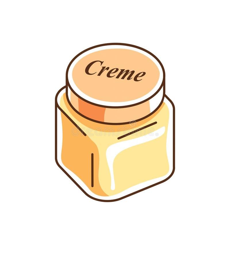 Διανυσματική απεικόνιση του κομψού του προσώπου creme μπουκαλιού μασκών που απομονώνεται απεικόνιση αποθεμάτων