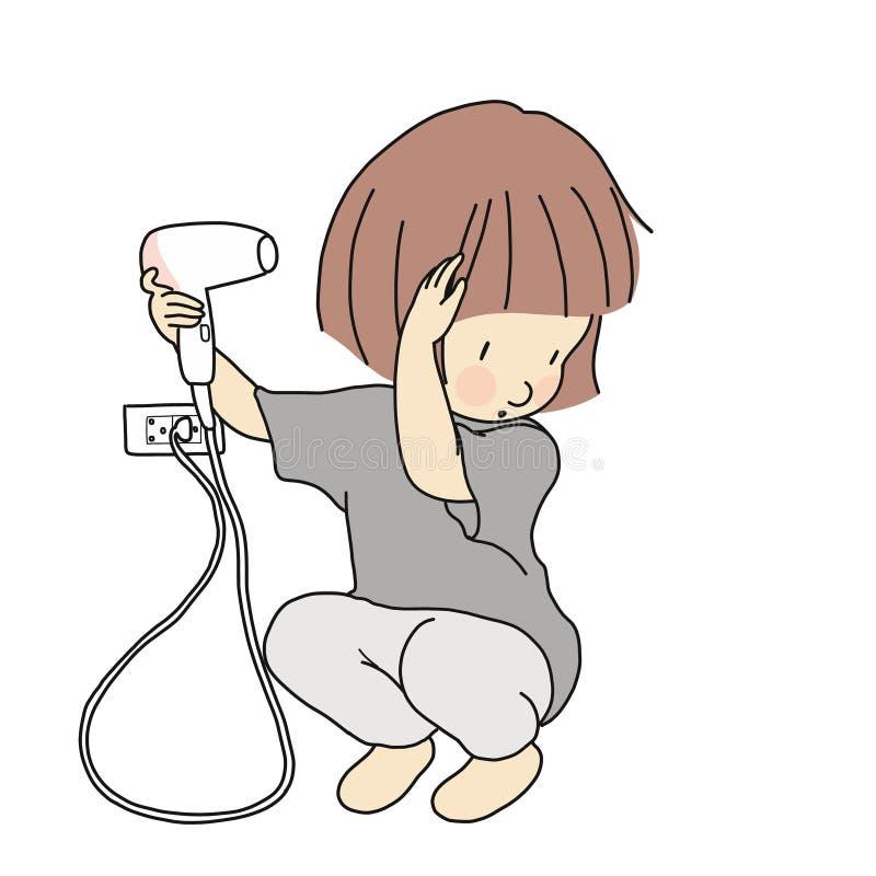 Διανυσματική απεικόνιση του κοριτσιού παιδάκι που προσπαθεί να ξεράνει την τρίχα με το στεγνωτήρα χτυπήματος Ανάπτυξη παιδιών & ε απεικόνιση αποθεμάτων
