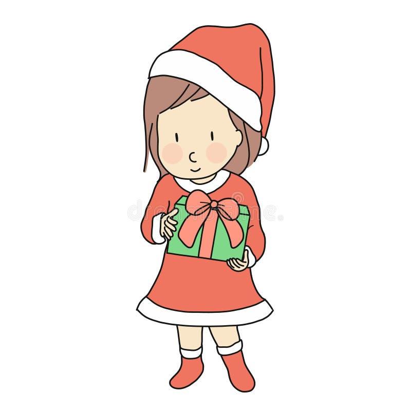 Διανυσματική απεικόνιση του κοριτσιού παιδάκι στο κόκκινο κιβώτιο δώρων εκμετάλλευσης κοστουμιών φορεμάτων Άγιου Βασίλη για τον ε απεικόνιση αποθεμάτων