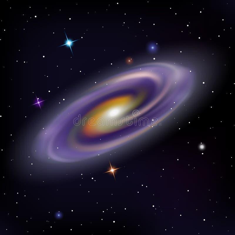Διανυσματική απεικόνιση του κοσμικού γαλαξία και των φωτεινών λάμποντας αστεριών στο νυχτερινό ουρανό ελεύθερη απεικόνιση δικαιώματος