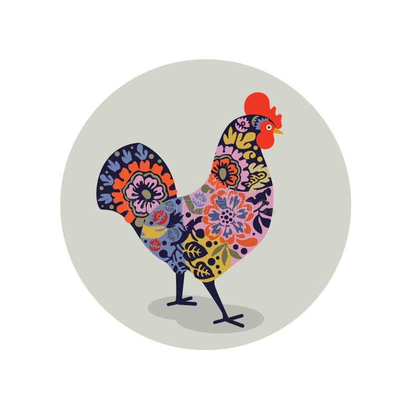 Διανυσματική απεικόνιση του κόκκορα που διακοσμείται με το ζωηρόχρωμο floral σχέδιο ελεύθερη απεικόνιση δικαιώματος