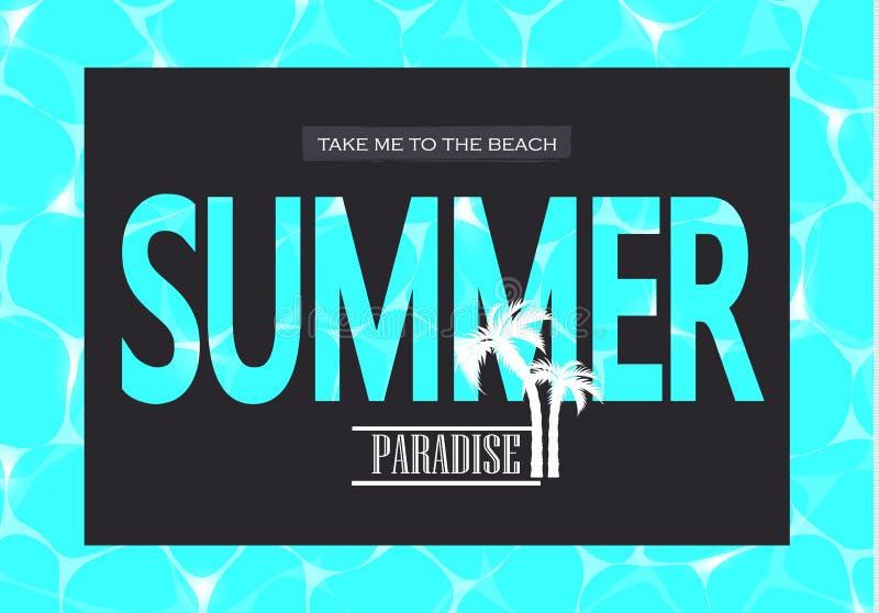 Διανυσματική απεικόνιση του λαμπρού μπλε νερού Θερινός παράδεισος Με πάρτε στην παραλία Η απεικόνιση μπορεί να χρησιμοποιηθεί για απεικόνιση αποθεμάτων