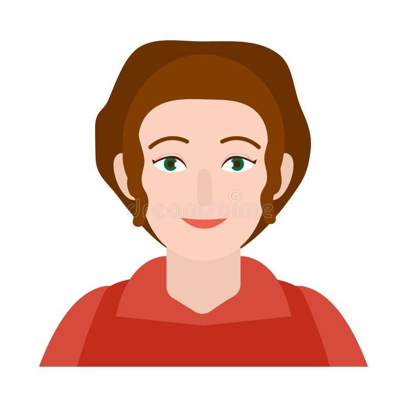 Διανυσματική απεικόνιση του λογότυπου γυναικών και προσώπου Σύνολο γυναίκας και ενήλικου διανυσματικού εικονιδίου για το απόθεμα διανυσματική απεικόνιση