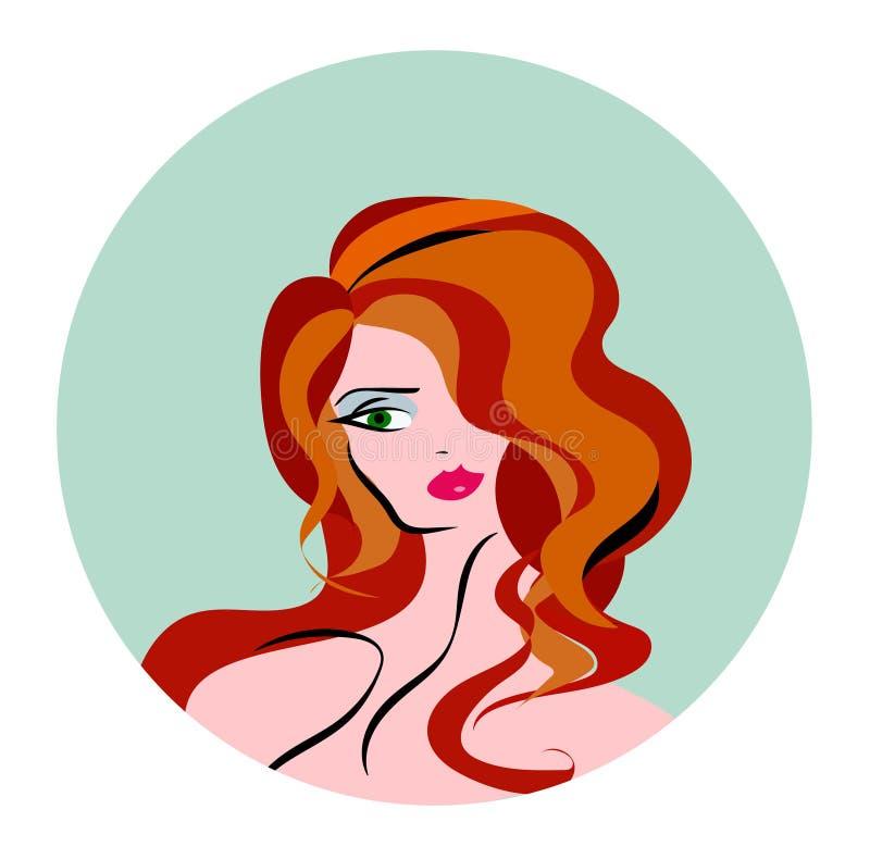 Διανυσματική απεικόνιση του μακρυμάλλους εικονιδίου ύφους γυναικών, πρόσωπο γυναικών λογότυπων ελεύθερη απεικόνιση δικαιώματος