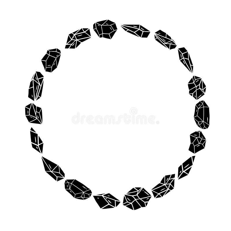 Διανυσματική απεικόνιση του μαύρου κρυστάλλου γύρω από το πλαίσιο συνόρων για την εγγραφή στο άσπρο υπόβαθρο Ένα πλαίσιο κύκλων στοκ φωτογραφίες