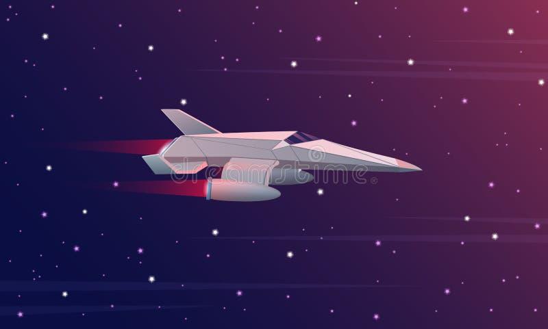 Διανυσματική απεικόνιση του μικρού διαστημοπλοίου που πετά στο μακρινό διάστημα Διαστημικές δυνάμεις γαλαξιών διανυσματική απεικόνιση