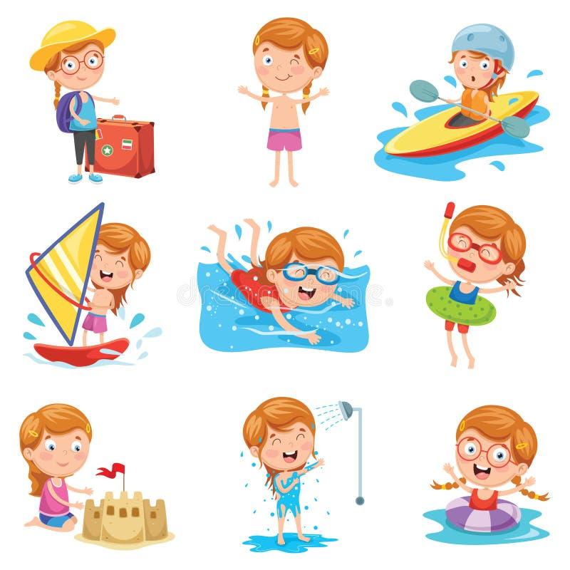 Διανυσματική απεικόνιση του μικρού κοριτσιού στις καλοκαιρινές διακοπές ελεύθερη απεικόνιση δικαιώματος