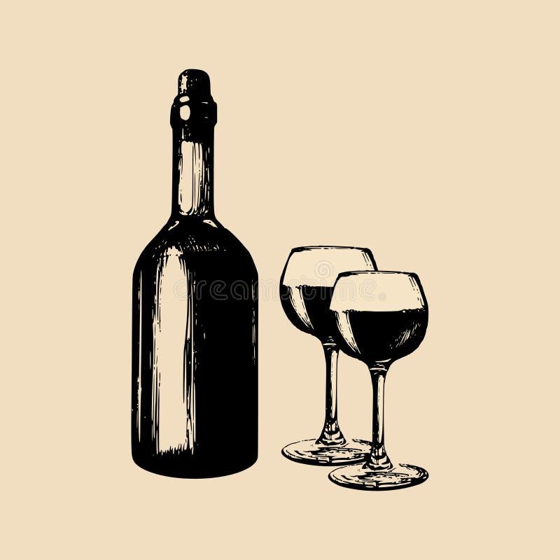 Διανυσματική απεικόνιση του μπουκαλιού και των γυαλιών κρασιού Συρμένο χέρι σκίτσο τα στοιχεία για τον καφέ, φραγμός, επιλογές εσ διανυσματική απεικόνιση