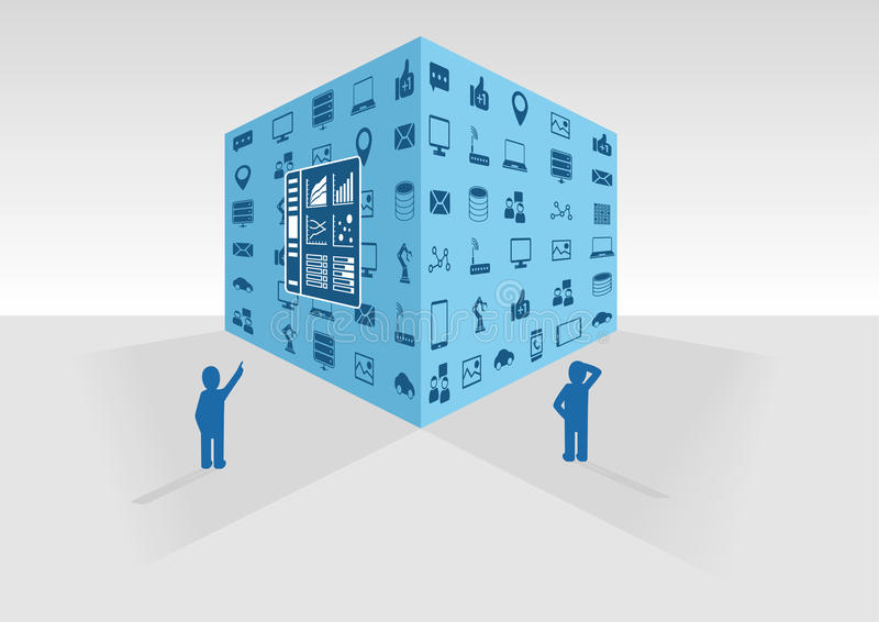 Διανυσματική απεικόνιση του μπλε μεγάλου κύβου στοιχείων στο γκρίζο υπόβαθρο Δύο άτομα που εξετάζουν τα μεγάλα στοιχεία και τα στ ελεύθερη απεικόνιση δικαιώματος