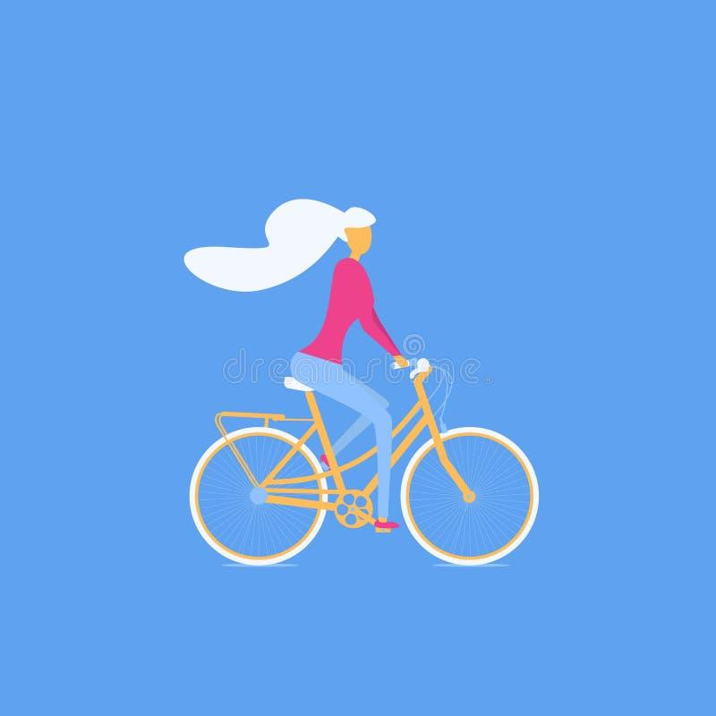Διανυσματική απεικόνιση του νέου γυναικείου οδηγώντας ποδηλάτου ελεύθερη απεικόνιση δικαιώματος