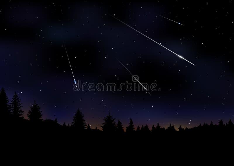 Διανυσματική απεικόνιση του ντους μετεωριτών στο σκοτεινό νυχτερινό ουρανό ελεύθερη απεικόνιση δικαιώματος